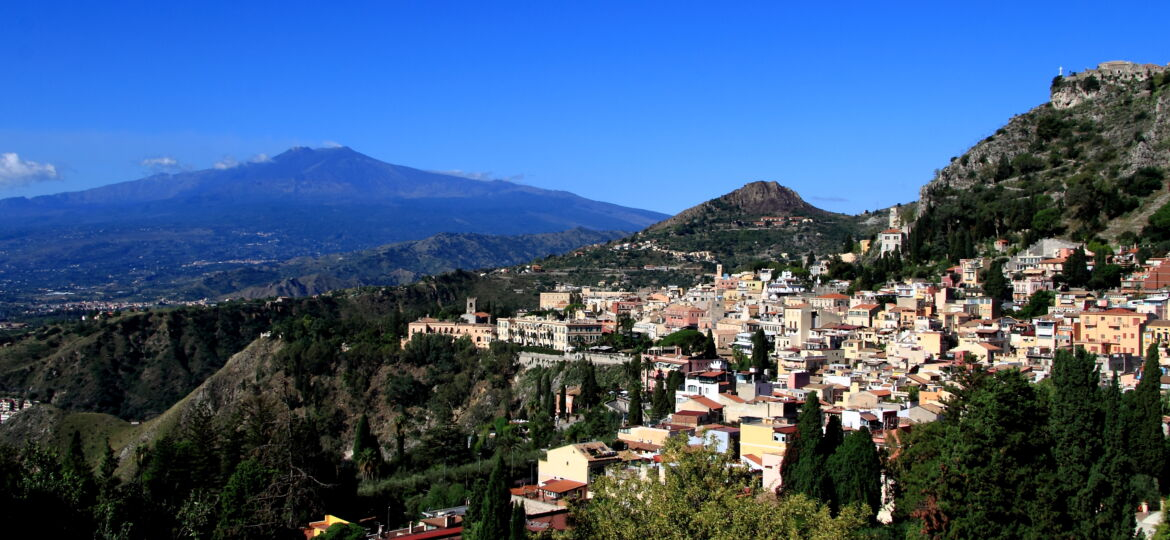 Mt Etna and Taormina as seen from the Ancient Theatre of Taormina